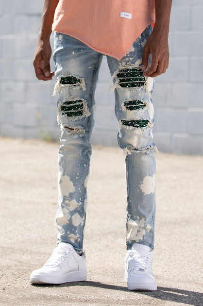 MULTI RHINESTONE PATCHED JEANS - orangeshine.com