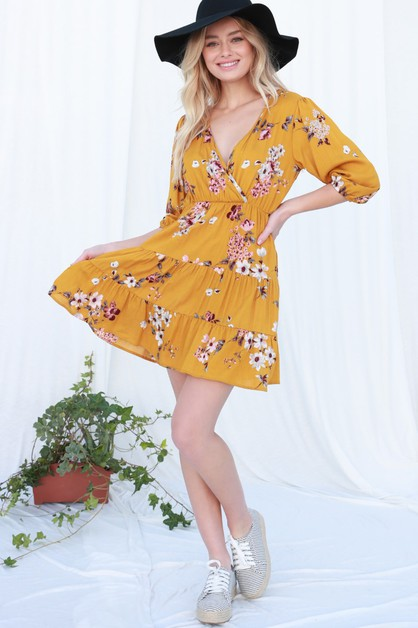 Floral Surplice Dress - orangeshine.com