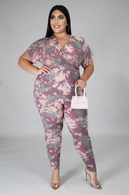 SHORT SLEEVE TIE DYE JUMPSUIT - orangeshine.com