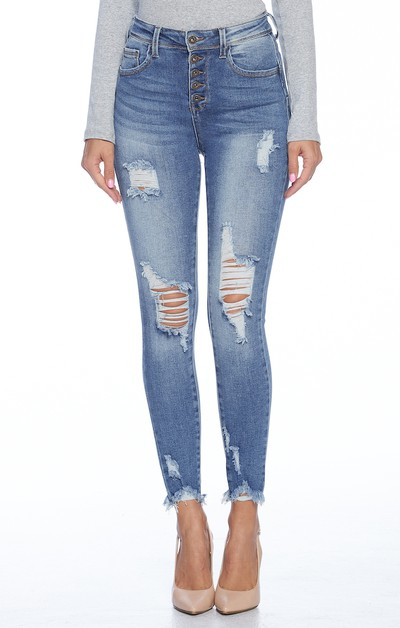Stretchy Skinny Jeans Button Ripped - orangeshine.com