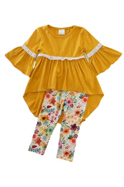 Mustard tunic with floral pants set - orangeshine.com