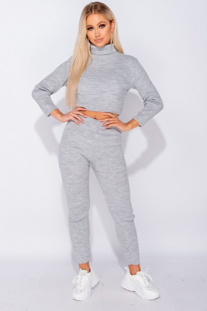 Rib Knit Roll Neck and Legging Set - orangeshine.com