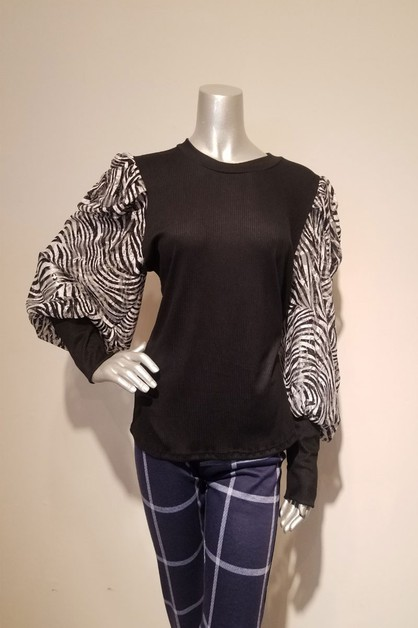 Solid long sleeve top with print con - orangeshine.com