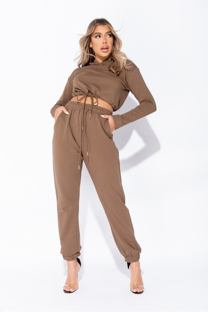 Cropped Hoodie and Jogger Set - orangeshine.com