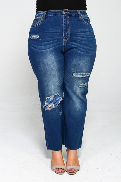 Plus Size High Waist Patch Jeans - orangeshine.com