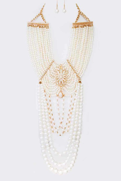 Statement Layer Pearl Necklace Set - orangeshine.com