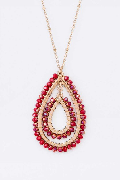 Crystal Wired Teardrop Pendant NK - orangeshine.com