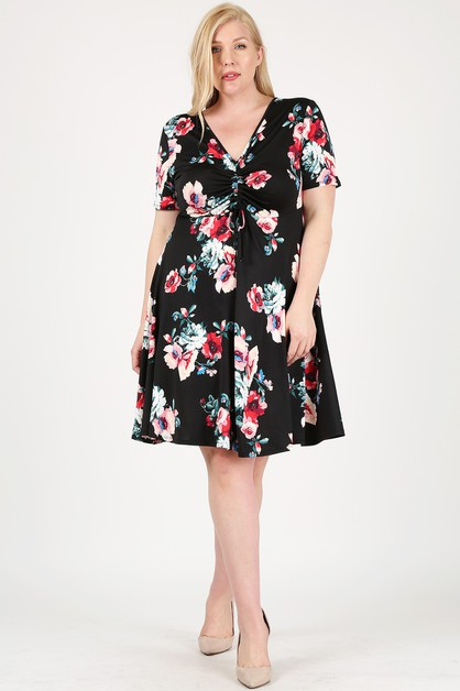 Floral Short Sleeve Flared Dress - orangeshine.com