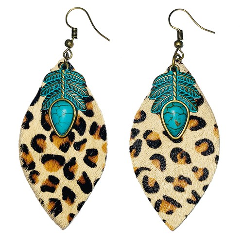 leather turquoise  hair on earrings - orangeshine.com