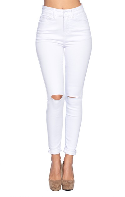 HIGH WAIST SOLID WHITE JEANS - orangeshine.com
