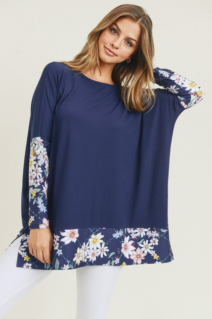 Printed Detail Dolman Sleeve Top - orangeshine.com