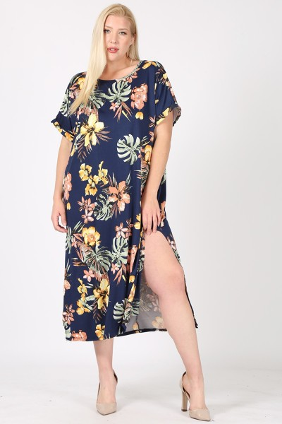PLUS SIZE LEAF PRINT MAXI DRESS WITH - orangeshine.com
