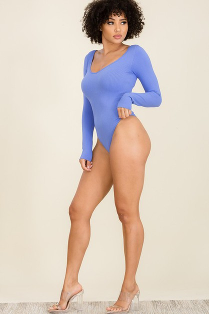 V neck ribbed long sleeve bodysuit - orangeshine.com