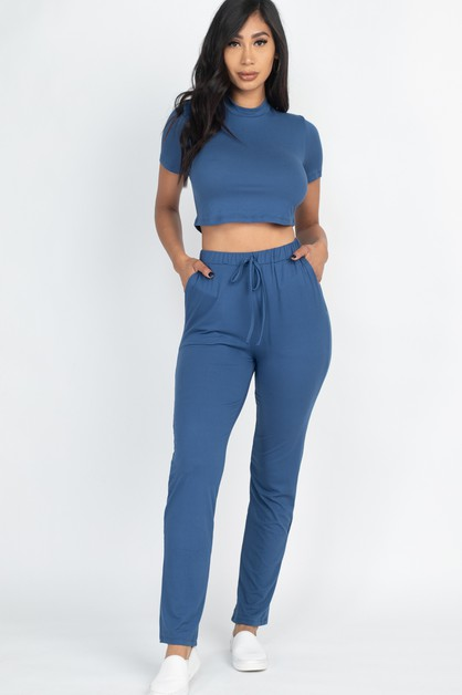 Mock Neck Crop Top and Pants Set - orangeshine.com