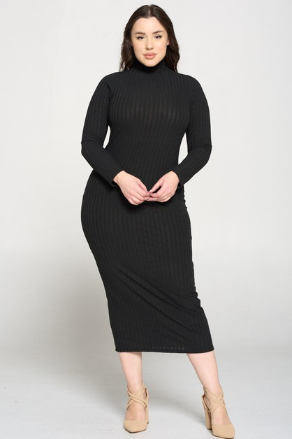 HIGH NECK KNIT DRESS - orangeshine.com
