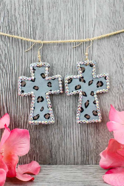 Rhinestone Cross Earring - orangeshine.com