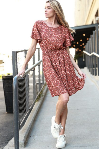 Floral Flare Sleeve Flowy Mini Dress - orangeshine.com