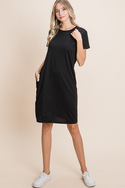 RELAXED FIT BASIC SOLID DRESS - orangeshine.com