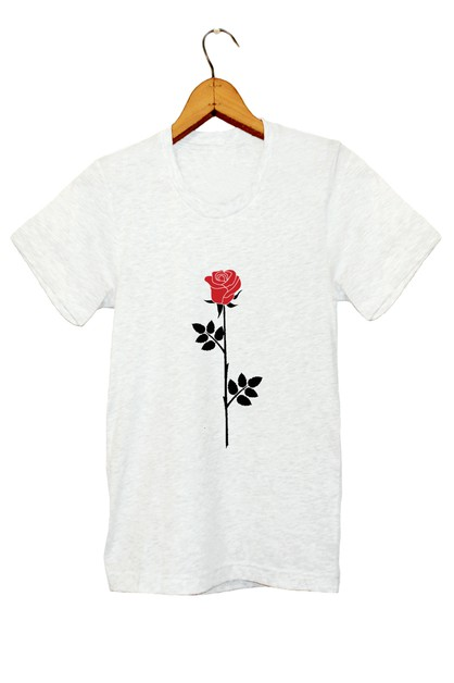 BLACK AND RED ROSE TEE - orangeshine.com