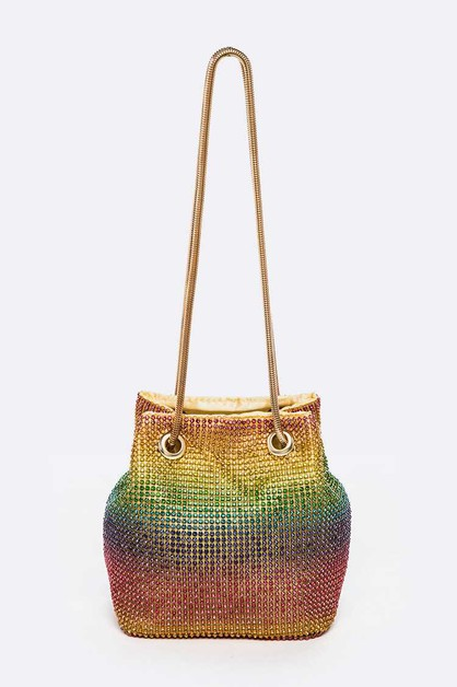 Rainbow Color Crystal Swing Clutch - orangeshine.com