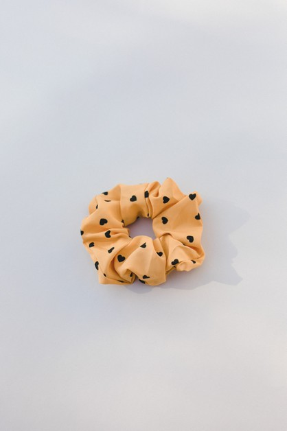 Yellow Heart Scrunchie - orangeshine.com