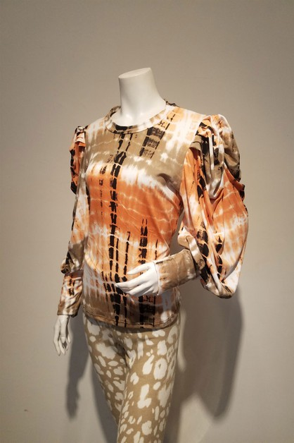 puff sleeve print top - orangeshine.com