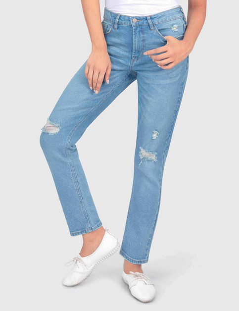 Womens Long Medium Blue Denim Pant - orangeshine.com