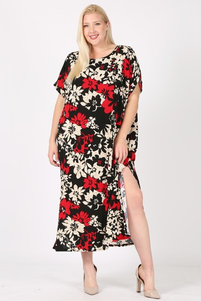 PLUS SIZE FLOWER PRINT MAXI DRESS WI - orangeshine.com