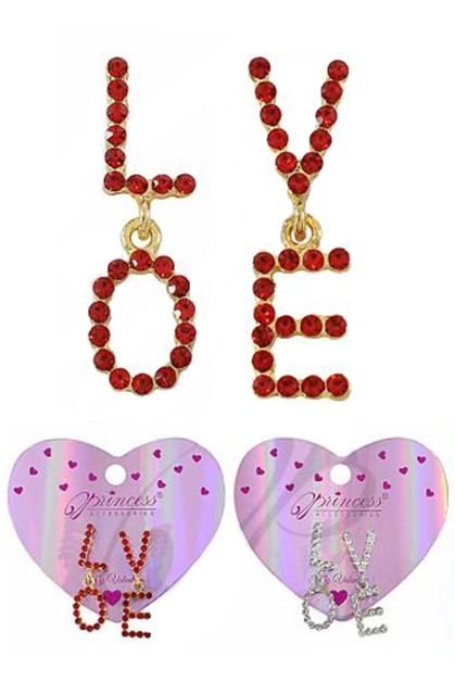 Rhinestone LOVE Dangle Earring - orangeshine.com