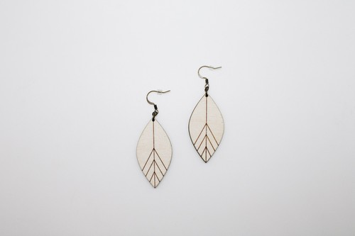 Petal Shaped Engraved Wood Earrings - orangeshine.com