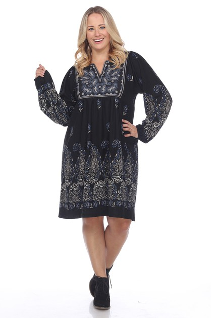 Plus Size Embroidered Sweater Dress - orangeshine.com