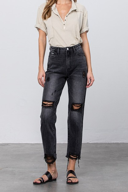 HI- RISE BLACK MOM JEANS - orangeshine.com