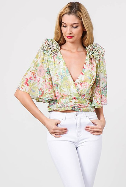 FLORAL PRINT V-NECK CROPPED BLOUSE  - orangeshine.com