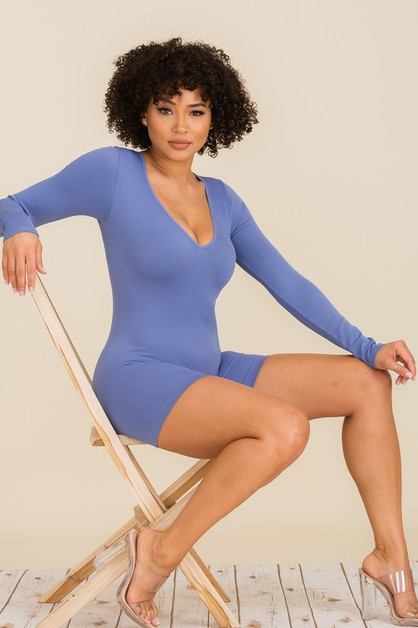 V-NECK LONG SLEEVE BODYSUIT - orangeshine.com