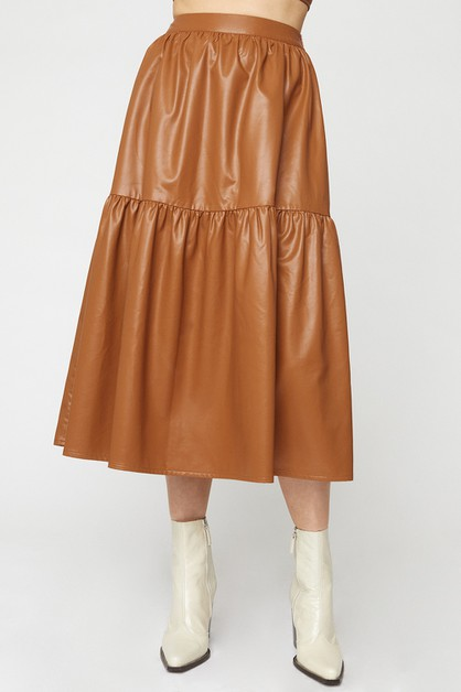 PU TIERED MIDI SKIRT - orangeshine.com