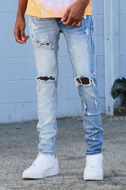 BLEACHED DESTROYED JEANS - orangeshine.com