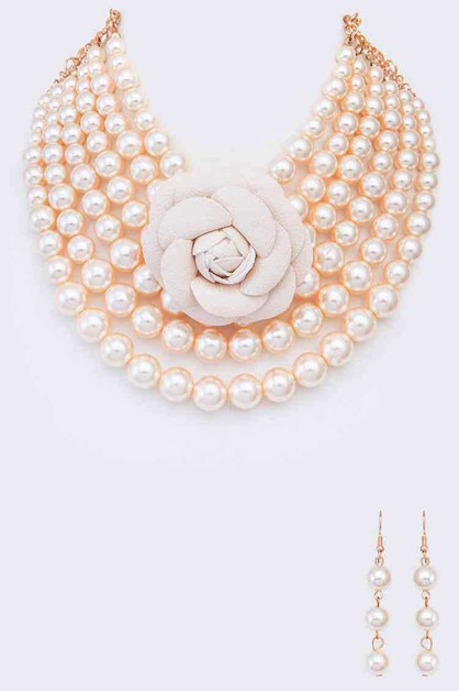Rose Layer Pearl Collar Necklace Set - orangeshine.com