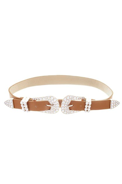 DOUBLE SIDED PEARL BUCKLE BELT - orangeshine.com