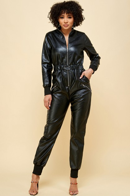 zipper front pleather jumpsuit - orangeshine.com