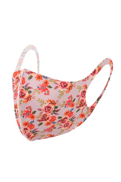 Pink Floral Print Fashion Face Mask - orangeshine.com