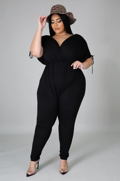 DOLMAN SLEEVE V-NECK JUMPSUIT - orangeshine.com