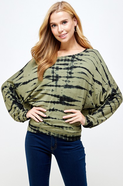 Olive Green  Black Bamboo Tiedye Top - orangeshine.com