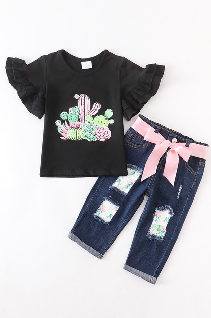 Cactus denim capri set - orangeshine.com