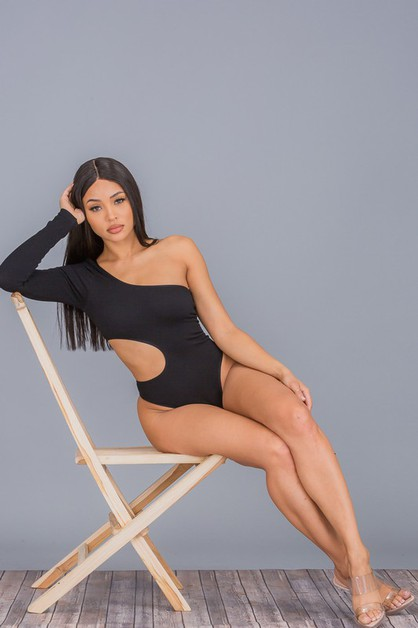 One-Shoulder Cutout Bodysuit - orangeshine.com