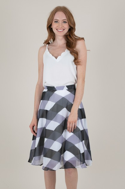 Blue Check Chiffon Skirt - orangeshine.com
