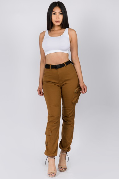 HIGH WAIST UTILITY POCKET JOGGERS - orangeshine.com