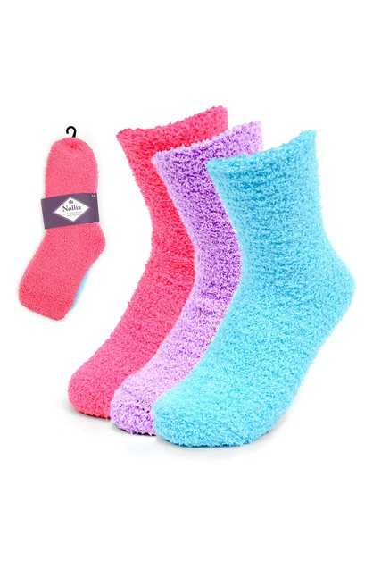 Assorted 3 Pairs Womens Fuzzy Socks - orangeshine.com