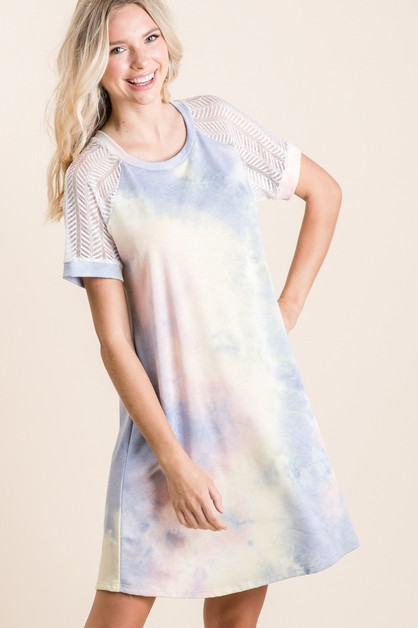 Lace Raglan Tie Dye Mini Dress - orangeshine.com
