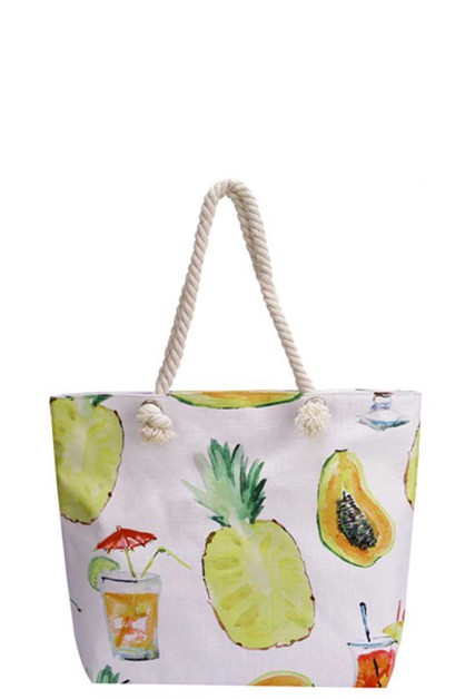 PINEAPPLE AND COCKTAIL CANVAS TOTE - orangeshine.com