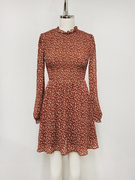 Printed Chiffon Smocked Mini Dress - orangeshine.com